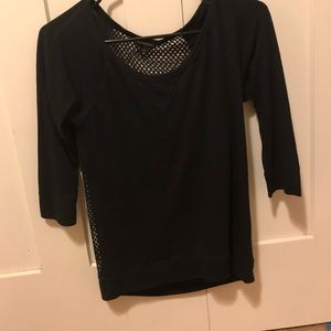 Express black 3/4 sleeve mesh top